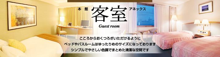 客室(Guest room)本館/アネックス:こころからおくつろぎいただけるようにベッドやバスルームはゆったりめのサイズとなっております。シンプルでやさしい色調でまとめた清潔な空間です。
